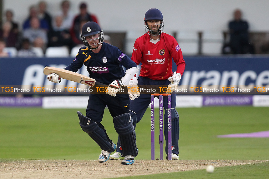 Adam Wheater in batting action for Hampshire as James Foster looks on - Essex Eagles vs Hampshire CCC - Royal London One-Day Cup at the Essex County Ground, Chelmsford, Essex - 13/08/14 - MANDATORY CREDIT: Gavin Ellis/TGSPHOTO - Self billing applies where appropriate - contact@tgsphoto.co.uk - NO UNPAID USE