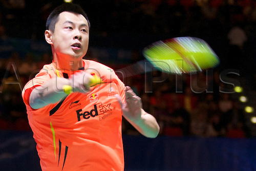 10.03.2012 Birmingham, England. Xu Chen (CHN) and Ma Jin (CHN) in action during the Yonex All England Open Badminton Championships at the National Indoor Arena.