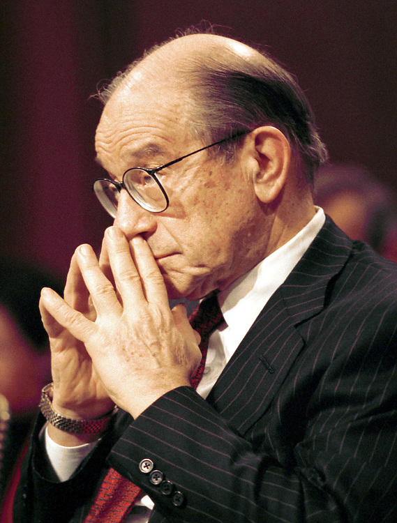 2Greenspan021301 -- Federal Reserve chairman Allen Greenspan listens during a hearing on the monetary policy.