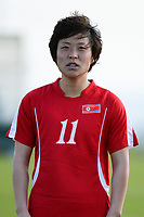 20190227 - LARNACA , CYPRUS : North Korean midfielder Kim Phyong-hwa pictured during a women's soccer game between Korea DPR and Czech Republic , on Wednesday 27 February 2019 at the GSZ Stadium in Larnaca , Cyprus . This is the first game in group A for both teams during the Cyprus Womens Cup 2019 , a prestigious women soccer tournament as a preparation on the Uefa Women's Euro 2021 qualification duels and the Fifa World Cup France 2019. PHOTO SPORTPIX.BE | STIJN AUDOOREN