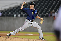 The Mobile BayBears pitcher Evan Marshall #13 delivers a pitch during  game four of the Southern League Championship Series between the Mobile Bay Bears and the Tennessee Smokies at Smokies Park on September 18, 2011 in Kodak, Tennessee.  The BayBears won the Southern League Championship 6-4.  (Tony Farlow/Four Seam Images)