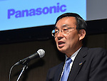 June 17, 2015, Tokyo, Japan - President Kazuhiro Tsuga of Panasonic announces buisiness tie-up with NTT during a news conference in Tokyo on Wednesday, June 17, 2015. The two Japanese companies will join to develop next-generation information systems ahead of the 2020 Tokyo Olympics, including 3-D video distribution systems for broadcasting sports events. Panasonic's technologies for shooting and processing 3-D video will be combined with NTT's high-speed communications technologies. (Photo by Natsuki Sakai/AFLO) AYF -mis-