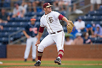 Relief pitcher Jimmy Marshall #26 of the Florida State Seminoles in action as the rain falls at Durham Bulls Athletic Park May 24, 2009 in Durham, North Carolina. The Virginia Cavaliers defeated the Florida State Seminoles 6-3 to win the 2009 ACC Baseball Championship.  (Photo by Brian Westerholt / Four Seam Images)