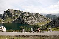 Alberto Contador (w), Alejandro Valverde (g), Joaquin Purito Rodriguez (r) and Nairo Alexander Quintana pass by the Lakes of Covadonga during the stage of La Vuelta 2012 between La Robla and Lagos de Covadonga.September 2,2012. (ALTERPHOTOS/Paola Otero) /NortePhoto.com<br /> <br /> **CREDITO*OBLIGATORIO** <br /> *No*Venta*A*Terceros*<br /> *No*Sale*So*third*<br /> *** No*Se*Permite*Hacer*Archivo**<br /> *No*Sale*So*third*