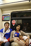 01/07/2018, FIFA World Cup Football Russia 2018, Luzhniki Stadium, Moscow, Russia; Round of 16 Football match between Croatia and Denmark; People look at the game on a TV screen