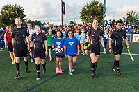 Boston, MA - Sunday September 10, 2017: Game officials Cory Richardson, Alexandria White, Danielle Chesky, Amilcar Sicajuenter enter the field during a regular season National Women's Soccer League (NWSL) match between the Boston Breakers and Portland Thorns FC at Jordan Field.
