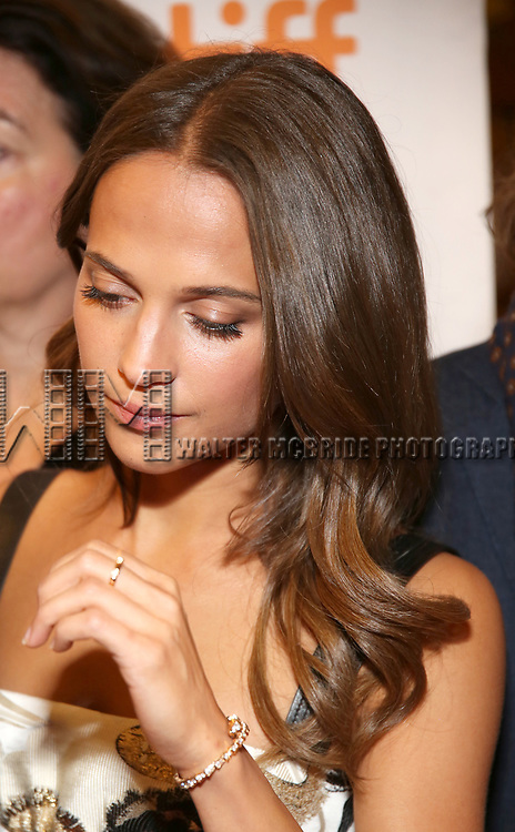 Alicia Vikander attends the 'Euphoria' premiere during the 2017 Toronto International Film Festival at Winter Garden Theatre on September 11, 2017 in Toronto, Canada.