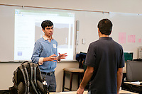 The Harker School - US - Upper School - Harker's US Tech Club is visited by Ashu Desai, a local software engineer working on his start-up company to inspire young entrepreneurs to develop apps for mobile platforms...2012-03-21...Photo by Kyle Cavallaro