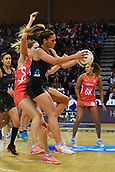 7th September 2017, Te Rauparaha Arena, Wellington, New Zealand; Taini Jamison Netball Trophy; New Zealand versus England;  Silver Ferns Grace Rasmussen takes a pass with Englands Sara Bayman pressing