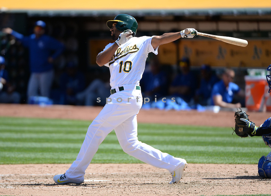 Oakland A's Marcus Semien (10) during a game against the Kansas CIty Royals on April 17, 2016 at Oakland Coliseum in Oakland, CA. The A's beat the Royals 3-2.