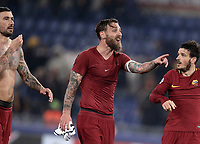 Football Soccer: UEFA Champions League AS Roma vs Qarabag FK Stadio Olimpico Rome, Italy, December 5, 2017. <br /> Roma's Aleksandar Kolarov (l), captain Daniele De Rossi (c) and Alessandro Florenzi (r) celebrate after winning 1-0 the Uefa Champions League football soccer match between AS Roma and Qarabag FK at at Rome's Olympic stadium, December 05, 2017.<br /> AS Roma reachs Champions League last 16.<br /> UPDATE IMAGES PRESS/Isabella Bonotto