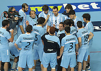 18.01.2013 Barcelona, Spain. IHF men's world championship, prelimanary round. Picture showargentina team   in action during game between Arnetina vs Tunisia at Palau St Jordi
