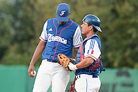27 july 2010: Arold Castillo of France talks to Boris Marche during Germany 10-9 victory over France, in day 5 of the 2010 European Championship Seniors, in Stuttgart, Germany.