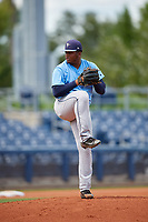Tampa Bay Rays pitcher Jose Lopez (86) delivers a pitch during a Florida Instructional League game against the Baltimore Orioles on October 1, 2018 at the Charlotte Sports Park in Port Charlotte, Florida.  (Mike Janes/Four Seam Images)