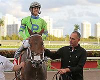 January 17, 2015:  Sr.Quisqueyano (FL) with jockey Edgard Zayas on board wins the $250K Sunshine Millions Classic at  Gulfstream Park in Hallandale Beach, Florida. Liz Lamont/ESW/CSM