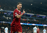 Liverpool's Roberto Firmino celebrates scoring his side's second goal <br /> <br /> Photographer Rich Linley/CameraSport<br /> <br /> UEFA Champions League Quarter-Final Second Leg - Manchester City v Liverpool - Tuesday 10th April 2018 - The Etihad - Manchester<br />  <br /> World Copyright &copy; 2017 CameraSport. All rights reserved. 43 Linden Ave. Countesthorpe. Leicester. England. LE8 5PG - Tel: +44 (0) 116 277 4147 - admin@camerasport.com - www.camerasport.com