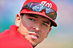12 March 2012: Washington Nationals infielder Chris Marrero in the dugout during a Spring Training game against the St. Louis Cardinals at Space Coast Stadium in Viera, Florida. The Nationals defeated the Cardinals 8-4 in Grapefruit League play. Mandatory Credit: Ed Wolfstein Photo