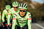 Jarlinson Pantano (COL) shows off Trek-Segafredo's new race and training kits for the 2018 season today. The new pinstriped kits in red and high vis green were revealed at JSH Il Picciolo Etna Golf Resort in Sicily at the team's Media Day. Sicily, Italy 14th December 2017.<br /> Picture: Trek Factory Racing | Cyclefile<br /> <br /> <br /> All photos usage must carry mandatory copyright credit (© Cyclefile | Trek Factory Racing)