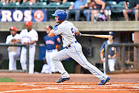 Kingsport Mets third baseman Rigoberto Terrazas (5) swings at a pitch during a game against the Greeneville Astros at Pioneer Park on July 1, 2017 in Greeneville, Tennessee. The Astros defeated the Mets 6-2. (Tony Farlow/Four Seam Images)