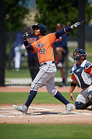 Houston Astros Rhandall Sanchez (92) bats during a Minor League Spring Training Intrasquad game on March 28, 2019 at the FITTEAM Ballpark of the Palm Beaches in West Palm Beach, Florida.  (Mike Janes/Four Seam Images)