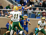 BROOKINGS, SD - OCTOBER 3:  TJ Lalley #33 from South Dakota State makes quarterback Carson Wentz #11 from North Dakota State throw off to the side in the first quarter of their game Saturday night at Coughlin Alumni Stadium in Brookings. (Photo by Dave Eggen/Inertia)