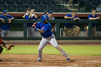 AZL Cubs third baseman Delvin Zinn (21) at bat during Game Three of the Arizona League Championship Series against the AZL Giants on September 7, 2017 at Scottsdale Stadium in Scottsdale, Arizona. AZL Cubs defeated the AZL Giants 13-3 to win the series two games to one. (Zachary Lucy/Four Seam Images)