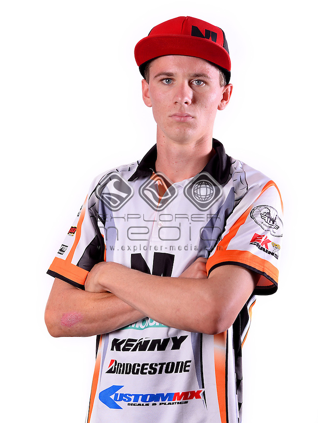 Portrait of MX2 rider Zane Keleher<br /> MXN Round 1 - Broadford / Media <br /> 2014 Monster Energy MX Nationals<br /> Australian Motocross Championship<br /> Broadford Vic.  Saturday 29 March 2014<br /> &copy; Sport the library / Jeff Crow