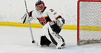 Verona goaltender, Kaden Grant, defends the goal in the first period, as Madison West takes on Verona in Wisconsin Big Eight conference boys high school hockey on Friday, 1/3/20 at the Verona Ice Arena