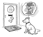 (A dog fears the delivery of a holiday guide means it will have to spend time in a kennel)