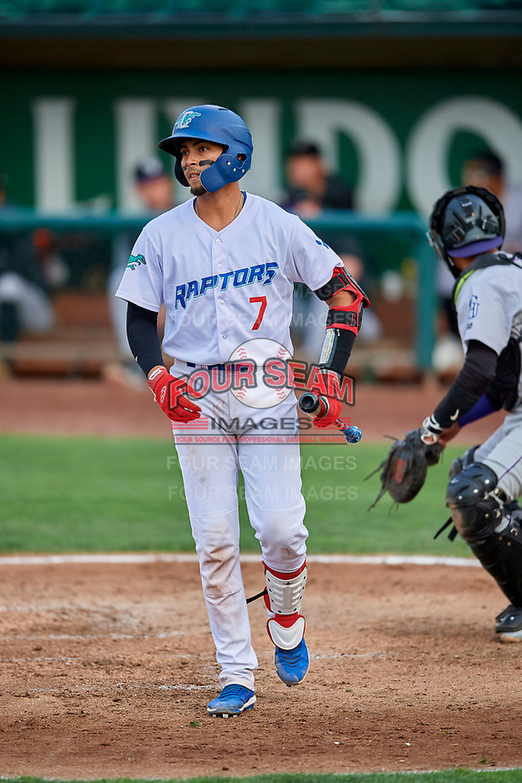 Ramon Rodriguez (7) of the Ogden Raptors at bat against the Grand Junction Rockies at Lindquist Field on September 9, 2019 in Ogden, Utah. The Raptors defeated the Rockies 6-5. (Stephen Smith/Four Seam Images)