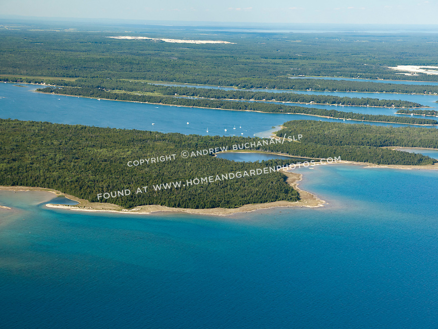 Lake Huron shoreline showing Big LaSalle Island and Government Bay beyond, Les Cheneaux Area near Cedarville, MI