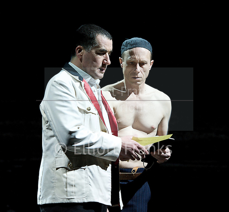 The Master and Margarita<br /> by Mikhail Bulgakov<br /> at the Barbican Theatre, London, Great Britain <br /> press photocall <br /> 17th December 2012 <br /> <br /> <br /> directed by Simon McBurney<br /> <br /> Tim McMullan - Pilate<br /> Johannes Flaschberger<br /> Robert Luckay<br /> Toby Sedgwick<br /> Josie Daxter<br /> Clive Mendus<br /> Tamzin Griffin<br /> Amanda Hadingue<br /> David Annen<br /> Susan Lynch - Margarita<br /> Ajay Naidu<br /> Thomas Arnold<br /> Yasuyo Mochizuki<br /> Richard Katz - Bezdomny<br /> Paul Rhys - the Master<br /> Caesar Sarachu<br /> <br /> Photograph by Elliott Franks
