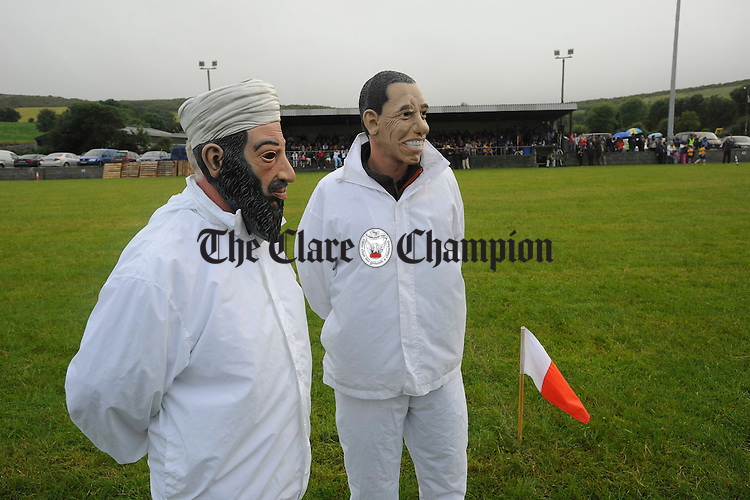 Umpires Oasma Bin Laden and Barack Obama get set for action before the Clare GAA 125 anniversary match in Carron. Photograph by John Kelly.