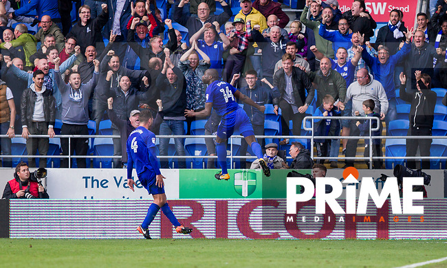 Sol Bamba of Cardiff City celebrates scoring his side's last minute equaliser during the Sky Bet Championship match between Cardiff City and Sheffield Wednesday at Cardiff City Stadium, Cardiff, Wales on 16 September 2017. Photo by Mark  Hawkins / PRiME Media Images.