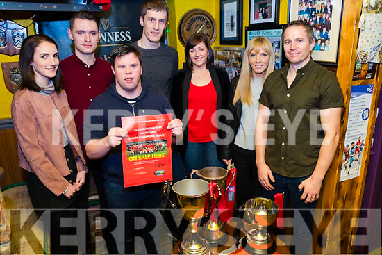 Seen at Ashes in Glenbeigh on Saturday for the Launch of the DVD of Glenbeigh/Glencar's march to All-Ireland glory. <br /> L:-R: Roseanna O'Brien, Sean Roche, Cathal Griffin, Colin McGillicuddy, Triona O'Neill, Grace Walsh &amp; Micheal Walsh.