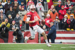 Wisconsin Badgers quarterback Alex Hornibrook (12) runs for yardage during an NCAA College Big Ten Conference football game against the Michigan Wolverines Saturday, November 18, 2017, in Madison, Wis. The Badgers won 24-10. (Photo by David Stluka)
