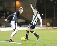 Lawrence Shankland tackling Craig Sibbald in the St Mirren v Falkirk Scottish Professional Football League Ladbrokes Championship match played at the Paisley 2021 Stadium, Paisley on 1.3.16.