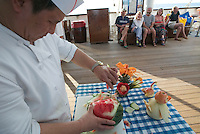 Similan Islands. Star Flyer anchoring at Ko Miang. Food carving demonstration.