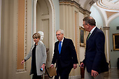 Senate Majority Leader Mitch McConnell (R-KY) makes his way to the Senate Chamber at the US Capitol in Washington, DC, Tuesday, March 17, 2020. Credit: Rod Lamkey / CNP
