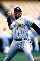 Ronnie Belliard of the Milwaukee Brewers participates in a Major League Baseball game at Dodger Stadium during the 1998 season in Los Angeles, California. (Larry Goren/Four Seam Images)