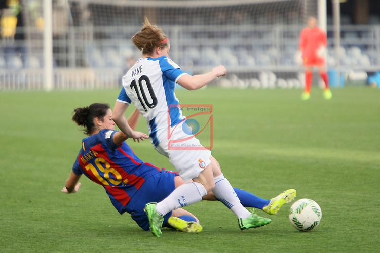 Spanish Women's Football League Iberdrola 2016/17 - Game: 21.<br /> FC Barcelona vs RCD Espanyol: 5-0.<br /> Marta Torrejon vs Vanessa Lopez.