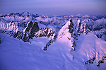 North Cascades National Park, WA<br /> Spires of the Picket range and North Cascades covered in winter snow- ariel view