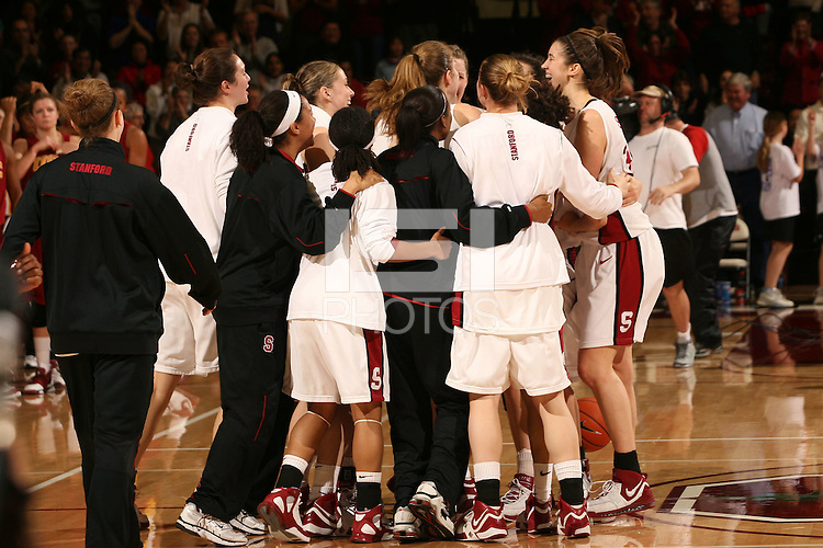 25 February 2007: Morgan Clyburn, Rosalyn Gold-Onwude, Melanie Murphy, Michelle Harrison, Candice Wiggins, Christy Titchenal, Kristen Newlin, Jayne Appel and Brooke Smith celebrate during Stanford's 56-53 win over USC at Maples Pavilion in Stanford, CA.