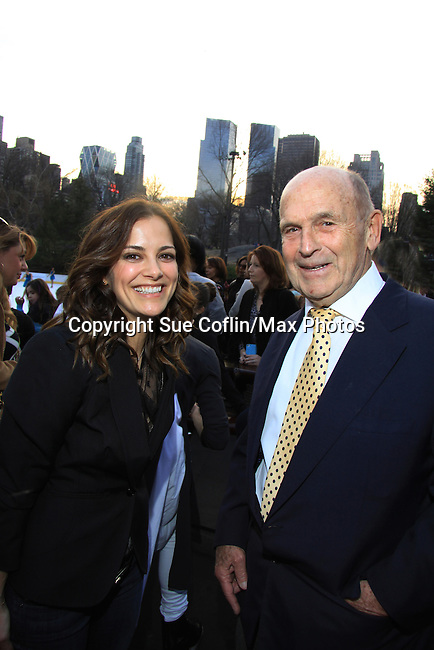 AMC Rebecca Budig and 2 time Olympic chamption Dick Button - The 2013 Skating with the Stars- a benefit gala for Figure Skating in Harlem on April 8, 2013 at Trump Wollman Rink, New York City, New York. (Photo by Sue Coflin/Max Photos)