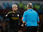 Referee Jonathan Moss talks to Sergio Aguero of Manchester City  during the Premier League match at Villa Park, Birmingham. Picture date: 12th January 2020. Picture credit should read: Darren Staples/Sportimage