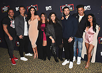"WEST HOLLYWOOD, CA - MARCH 29:   Ronnie Ortiz-Magro, Mike Sorrentino, Jenni Farley, Deena Cortese, executive producer SallyAnn Salsano, Vinny Guadagnino, Pauly DelVecchio and Nicole Polizzi at the ""Jersey Shore Family Vacation"" Global Premiere at HYDE Sunset: Kitchen + Cocktails on March 29, 2018 in West Hollywood, California. (Photo by Scott KirklandPictureGroup)"