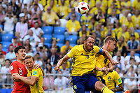 SAMARA - RUSIA, 07-07-2018: Sebastian LARSSON y Emil KRAFTH jugadores de Suecia en acción durante partido de cuartos de final entre Suecia y Inglaterra por la Copa Mundial de la FIFA Rusia 2018 jugado en el estadio Samara Arena en Samara, Rusia. / Sebastian LARSSON and Emil KRAFTH players of Sweden in action during the match between Sweden and England of quarter final for the FIFA World Cup Russia 2018 played at Samara Arena stadium in Samara, Russia. Photo: VizzorImage / Julian Medina / Cont