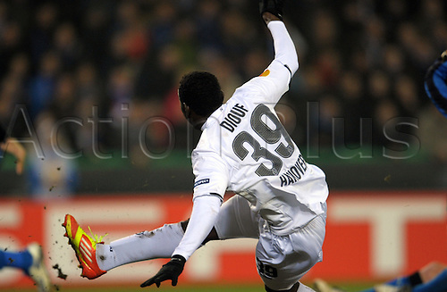 23.02.2012. Brugges, Belgium.  Hanover's Mame Diouf scores his goal for 1-0 during the 2nd leg of Europa League round of 32 match Club Brugge vs Hanover 96 at Jan Breydel Stadion in Bruges, Belgium, 23 February 2012.