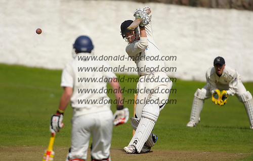Carlton CC V Grange CC, Scottish National Cricket League, Premier Division, at Grange Loan, Edinburgh - stepping up from their seconds, Carlton's Ben Duerden hits out on his way past 50 - Picture by Donald MacLeod 25.07.09