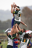 Peter White claims lineout ball for Manurewa. Counties Manukau Premier Club Rugby game between Ardmore Marist and Manurewa, played at Bruce Pulman Park Papakura on Saturday May 12th 2018. Ardmore Marist won the game 20 - 3 after leading 17 - 3 at halftime.<br /> Ardmore Marist - Katetistoti Nginingini try, penalty try, Latiume Fosita conversion, Latiume Fosita 2 penalties.<br /> Manurewa - Logan Fonoti penalty.<br /> Photo by Richard Spranger.